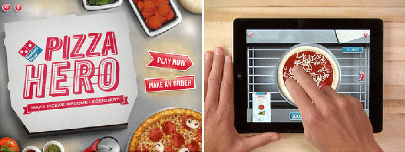 Pizza Hero: A game about pizza making skills by Domino's. (https://lonelybrand.com/blog/theres-an-app-for-that-dominos-pizza-hero/)